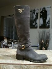 PRADA SPORT Brown Suede & Web Embossed Logo Mid-Calf Boots 36 NEW