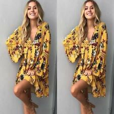 Women Boho Floral Long Maxi Evening Party Cocktail Beach Mini Dress Sundress