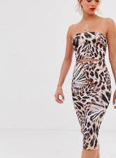 True Violet Leopard Print Bandeau Dress with Cut Out BNWT Size UK 12