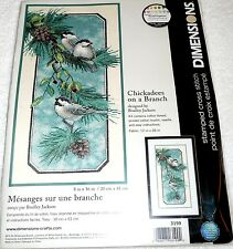 """Dimensions Stamped Cross Stitch Kit CHICKADEES ON A BRANCH 8"""" x 16"""""""