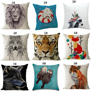 Animal Linen Pillow Case Home Decorative Sofa Modern Office Cushion Cover New