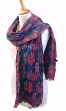 Womens Thick Winter Scarf Wrap Floral Design Soft Colours Blue Pink Jade Grey
