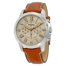 **NEW** MENS FOSSIL GRANT BEIGE CHRONO BROWN LEATHER WATCH - FS5118 - RRP £119