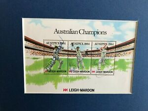 LILLEE , CHAPPELL , MARSH  AUTOGRAPHED 1984 STAMP SET MOUNTED