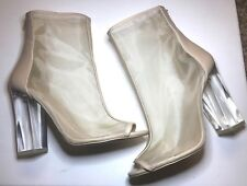 Aldo Yoania Open Toe Mesh Vamp Clear Heel Above Ankle Bootie Bone Women's Sz 10