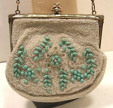 ANTIQUE VINTAGE MICRO BEADED PURSE BAG CZECH GLASS TURQUOISE FILIGREE FRAME 30'S