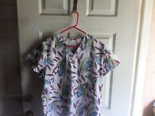Women's Denice Medical Scrub Top Size L Floral Front pockets