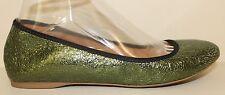 J. Crew Womens Shoe Size 7 Cece Crackle Metalic Green Ballet Flats Italy