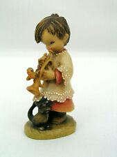 """Anri Ferrandiz 3"""" Wooden Figurine Trumpeter Boy Playing Trumpet w/ Bird & Cat"""