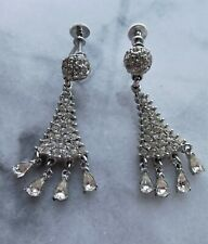 Signed BOGOFF Vintage Antique Chandelier Rhinestone Dangle Screwback Earrings