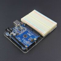 Arduino Uno R3 With an Acrylic Base Plate & 400 Pin Breadboard FREE USB CABLE