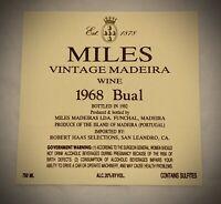 Wine Label: MILES VINTAGE MADEIRA - 1968 BUAL