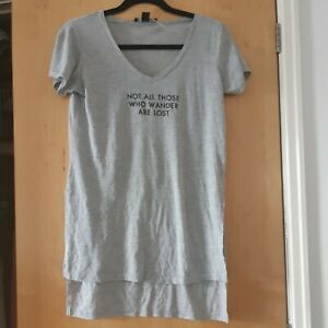 Grey marl longline lord of the rings embossed quote slogan t-shirt. Size 8