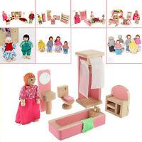 EG_enfants bois Famille miniature poupées meubles maison de poupée chambre SET