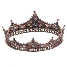 Vintage Copper Plated Pearls Crystal Diadem Crown Prom King Rhinestone Tiara Hot