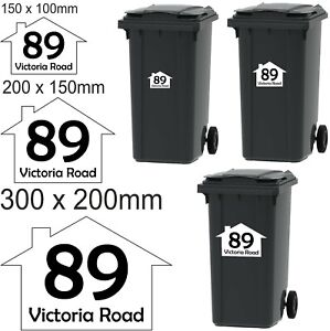 4x Wheelie Bin Number Vinyl Stickers Customised with Road Name and Number 3 Size