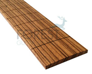 """Zebrawood Guitar Fretboard, 24.562 """" Gibson Scale, Slotted R 12 """""""