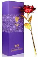 Rose Éternelle Rouge Pétale Plaqué Or 24K Fleur Boite Cadeau Fête Saint-Valentin