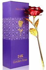 Rose Éternelle Rouge Pétales Plaqués Or 24K Fleurs Boite Cadeaux Fêtes Des Mères