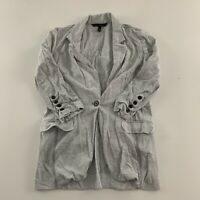 White House Black Market One Button 3/4 Sleeve Casual Blazer Women's Size S Gray
