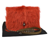 Auth CHANEL Quilted CC Chain Shoulder Wallet Bag Red Brown Suede Fur RK13522b