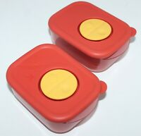Vintage Tupperware Rock N Serve Containers 1 Cup Sz Burnt Orange Set of 2 #3387A