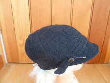 MONSOON ACCESSORIZE BLACK TEXTURED WOOL LOOK BAKER BOY PEAKED HAT CAP PIN BNWT