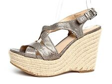 Via Spiga Women's Metallic Leather Wedge Sandals Sz 6M 3181