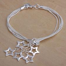 Unisex Women's 925 Sterling Silver Bracelet Adjustable Size L5