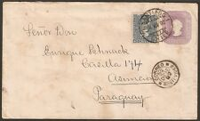 1639 CHILE TO PARAGUAY PS COVER 1892 RULETEADOS SGO - MONTEVIDEO - ASUNCION !