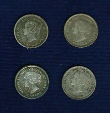 CANADA  VICTORIA  1872-H, 1874-H, 1881-H, 1870  5 CENTS SILVER COINS, LOT OF (4)
