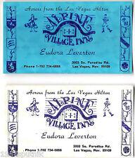 2 Alpine Village Inn Las Vegas Business card 1970 era Old restaurant Advertising