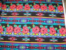 3.75 Yards Cotton Fabric Remnant, Cranston Prints USA, Southwestern Hibiscus