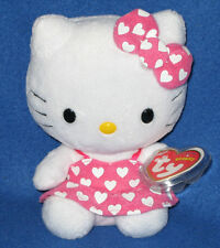 TY HELLO KITTY BEANIE BABY in PINK DRESS with WHITE HEARTS - MINT TAGS - UK EXCL