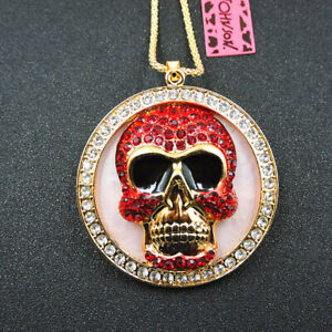 New Red Crystal Alloy Enamel Cute Skull Pendant Betsey Johnson Chain Necklace