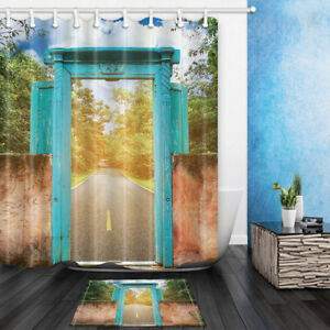 Blue Gate Road Green Woods Bathroom Fabric Shower Curtain Set 69*71Inch 12Hooks