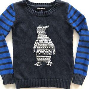 Lands End Boys Toddler Crewneck Pullover Knit Penguin Sweater Blue Size 4