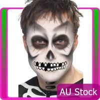 Mens Skeleton Day of the Dead Make Up Kit Scary Bones Halloween Costume Dress Up