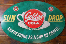 Sundrop Golden Girl Cola Refreshing Cup of Coffee Oval Heavy Duty Metal Ad Sign