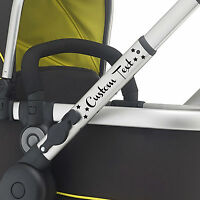 2X CUSTOM TEXT pram vinyl. Buggy sticker pushchair transfer CHOOSE COLOUR & FONT