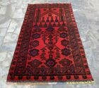 Hand Knotted Vintage Afghan Balouch Prayer Wool Area Rug 4 x 2 Ft (20710 HMN)