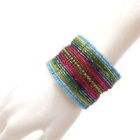 Rainbow Color Seed Beads Memory Wire Cuff Bracelet Boho Beads Festiva Iridescent