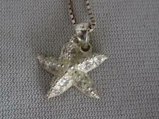 STERLING SILVER & CZ ACCENT 3-D STARFISH PENDANT & 16' CHAIN NECKLACE
