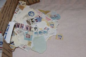 5 Pounds LBS US Postage Stamps Carton Box Lot Hoard Accumulation On Off Paper