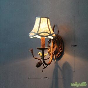 Rustic creative pine cone bird wall lamp bedroom corridor retro resin LED light