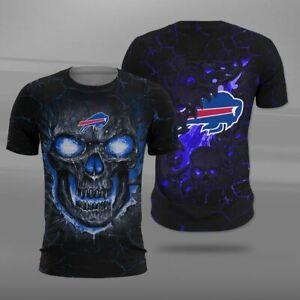 Buffalo Bills Men's T-Shirt Casual Short Sleeve Tees Summer Crewneck Top Shirt