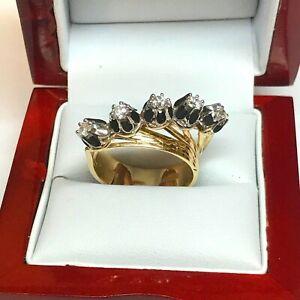 Yellow & White 14k Gold Genuine Diamond Russian Style antique finish Ring