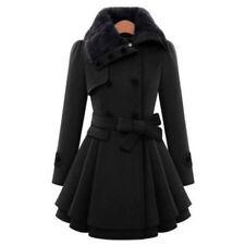 36-48 Damen Winter Wollmantel Trenchcoat Warmer Woll Parka Revers Jacke Mantel G