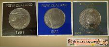 Trio of Cased New Zealand Cupro-Nickel One Dollars 1981, 82, 83