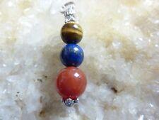 Pendentif lapis lazuli,cornaline,oeil de tigre